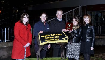 Leona Foran, Sheila Lucey and Deirdre Wolfe, Hamilton High staff members, making a presentation to Anthony Mullins, Carraig na bhFear, following Creamery Robin's win in the OLS Consulting Engineers and Project management Ltd 575 at the Hamilton High School 75 th. Anniversary Race Night at Curraheen Park. Included is Hazel Mullins. Picture: Mike English.