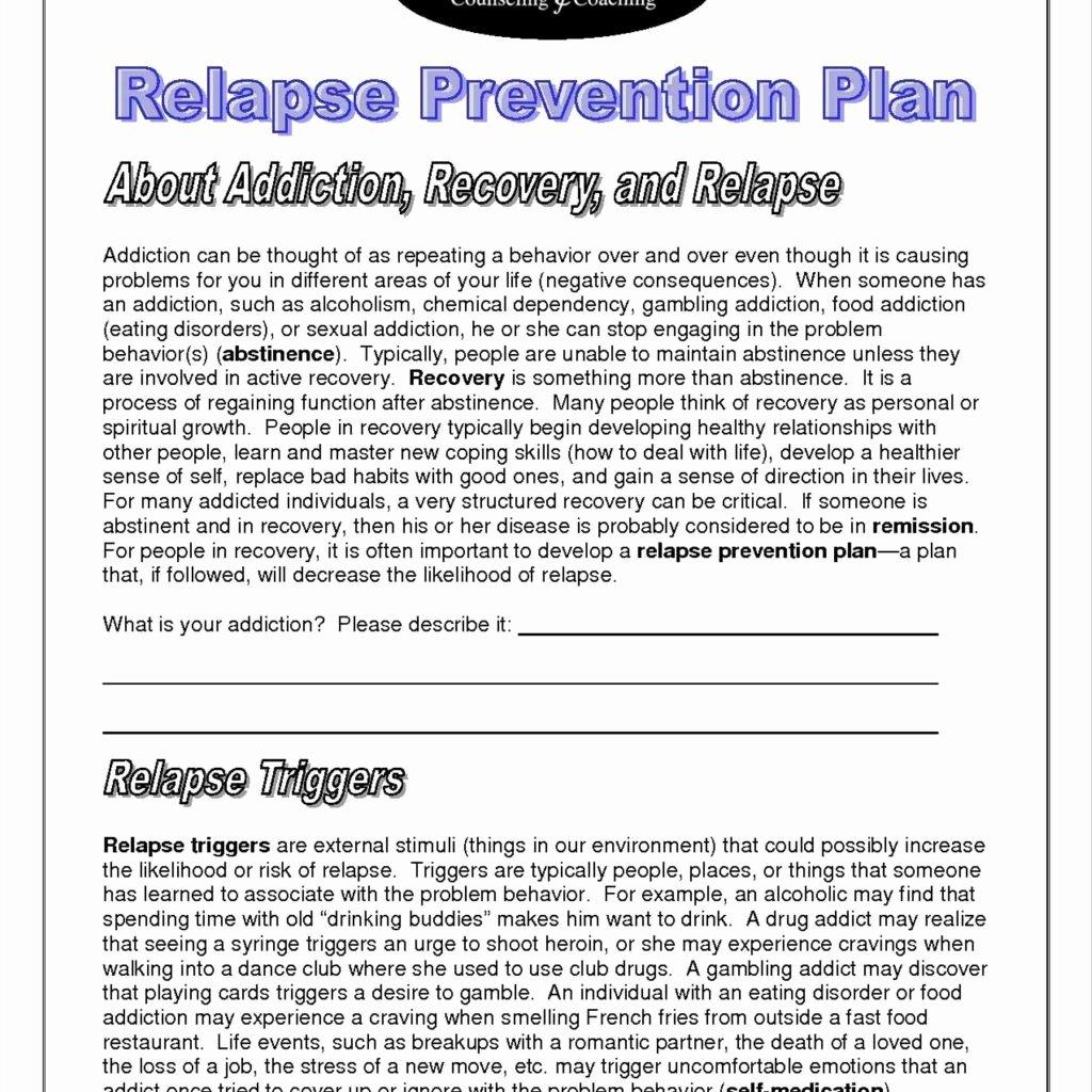 40 Relapse Prevention Plan Template