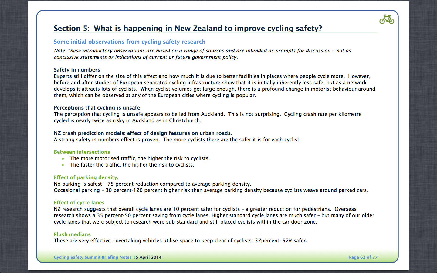 What's is happening in NZ to improve cycle safety?