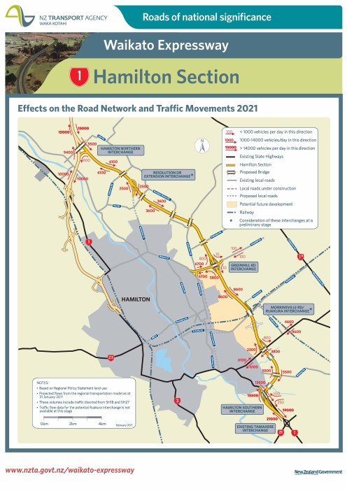 Hamilton section: Projected traffic volumes 2021 poster