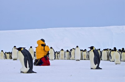 Christoph amongst the penguins
