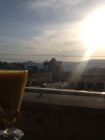 Mango and Avocado juice, looking out over the city from the Hotel balcony