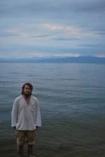 Hector having a paddle in Lake Kivu