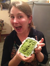 The finished product of pesto making