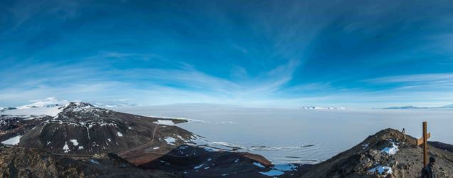 South, with Mt Erebus, Scott Base and the Ross Ice shelf