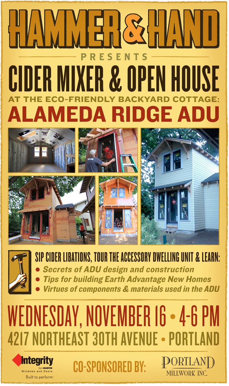 Event announcement to ADU cider mixer and open house