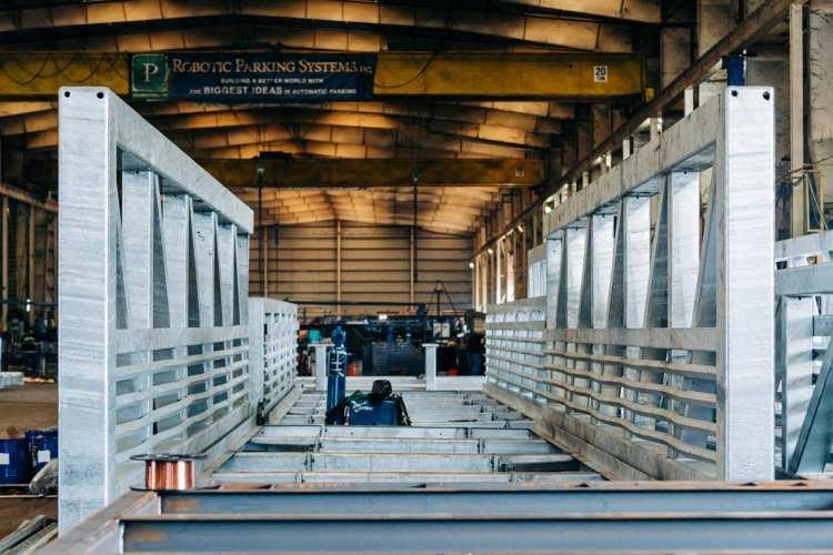 Part of a steel bridge fabricated by Hammer Haag Steel