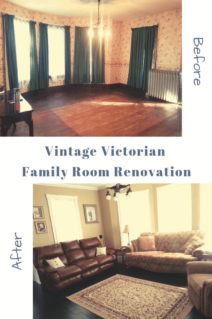 vintage victorian family room renovation