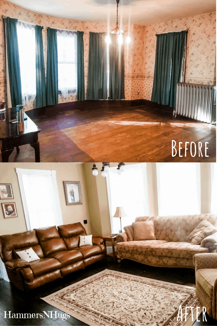 Before and After Vintage Victorian Family Room Renovation