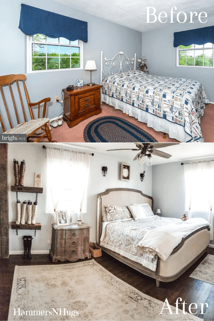 Before and After French Country Farmhouse Bedroom Renovation