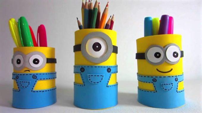 kerajinan dari botol bekas, wadah pensil dari botol bekas