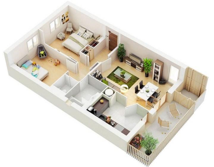 Denah Rumah Minimalis Modern 1 Lantai 2 Kamar Tidur  100 contoh denah rumah minimalis terisimpel dan terkeren