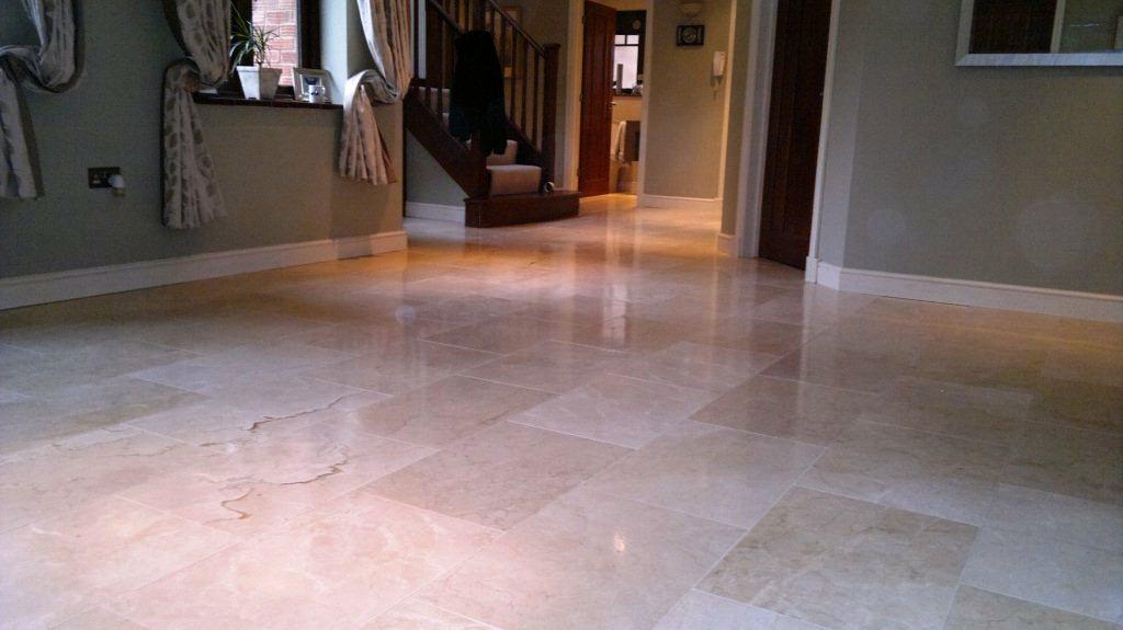 burnishing polished travertine tile