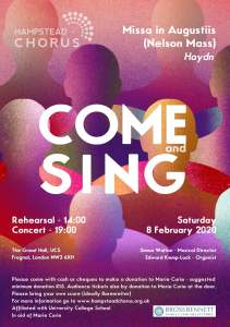 Come and Sing 2020 Poster