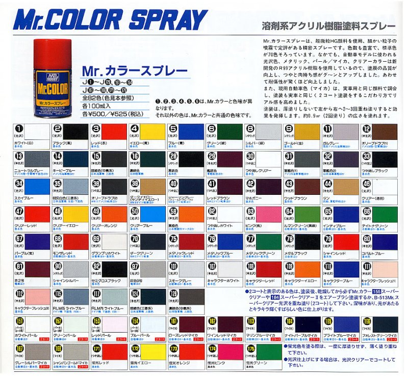Mr Color Spray Paint Chart Coloringsite