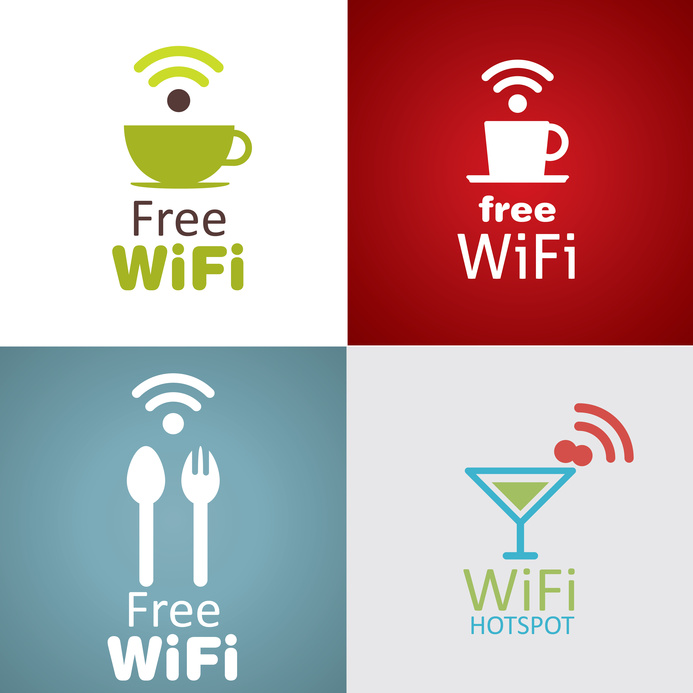Wifi cafe icon set