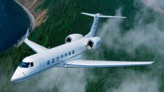 Gulfstream G550 Charter Flying Over Trees