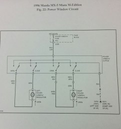 this is the wiring diagram for the power window switch for a 1996 mazda miata m edition on the top you see the 30 amp power window fuse located in the  [ 3264 x 2448 Pixel ]