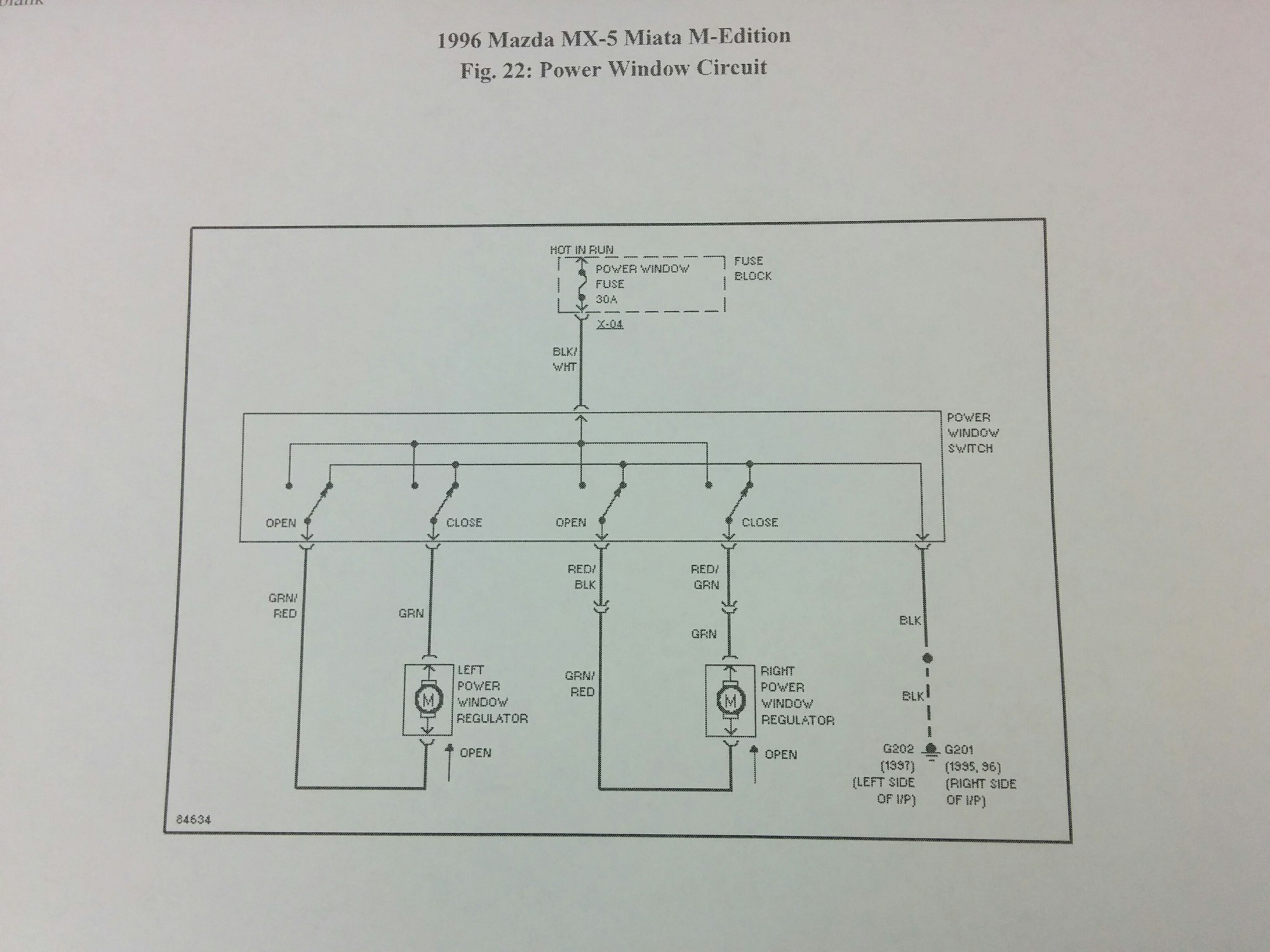 hight resolution of this is the wiring diagram for the power window switch for a 1996 mazda miata m edition on the top you see the 30 amp power window fuse located in the