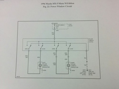 small resolution of this is the wiring diagram for the power window switch for a 1996 mazda miata m edition on the top you see the 30 amp power window fuse located in the