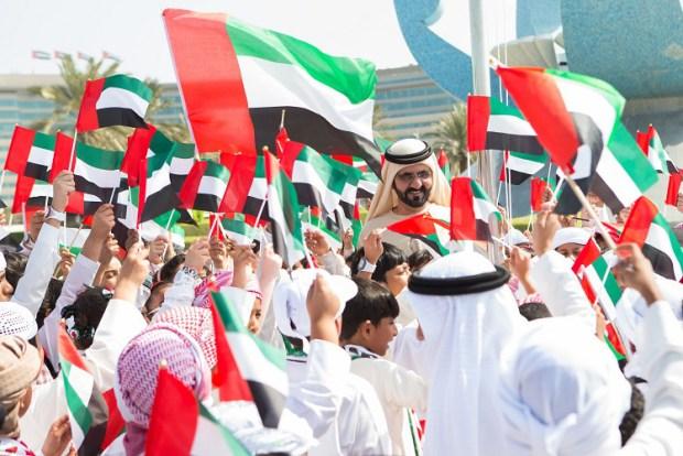 HH Shaikh Mohammad Bin Rashid Al Maktoum risig the union flag in Union house, Jumeirah, Dubai. November 06,2013 photo by Ahmad Ardity