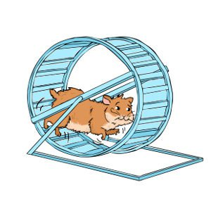 Hamster running in a wheel