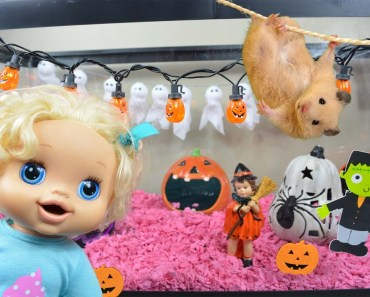 Baby Alive Decorates Her Hamster's Cage For Halloween! - Baby Alive Halloween - Hamster Halloween - baby alive decorates her hamsters cage for halloween baby alive halloween hamster halloween
