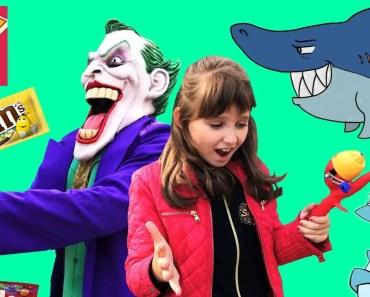 Giant Shark Accident Bad Kids and Joker go to Fishing Nerf M&Ms Skittles - giant shark accident bad kids and joker go to fishing nerf mms skittles