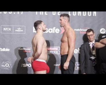 HUNG LIKE A RHINO!! DAVE ALLEN v DAVID HOWE - OFFICIAL WEIGH IN & HEAD TO HEAD / HAYE v BELLEW - hung like a rhino dave allen v david howe official weigh in head to head haye v bellew