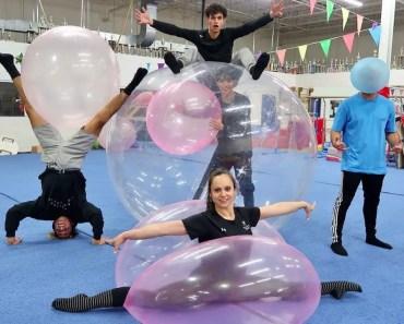 GYMNASTICS INSIDE WUBBLE BUBBLE BALL! - gymnastics inside wubble bubble ball