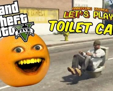 Annoying Orange plays GTA V: TOILET CAR!!! - annoying orange plays gta v toilet car