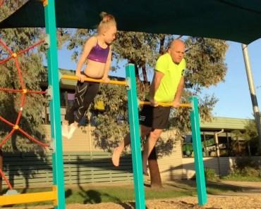 Funny Dad Copies Daughter's Gymnastic Moves - funny dad copies daughters gymnastic moves