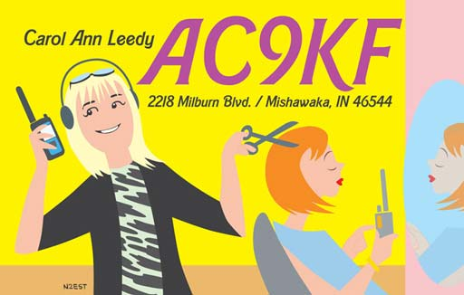 AC9KF ham radio cartoon QSL by N2EST