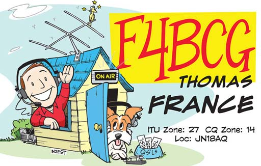 F4BCG ham radio cartoon QSL by N2EST