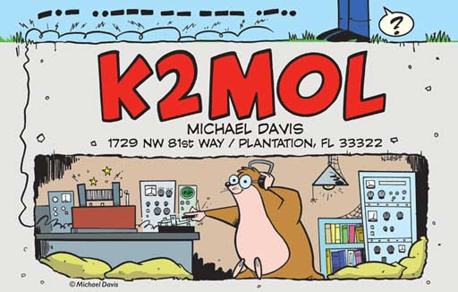 K2MOL ham radio cartoon QSL by N2EST