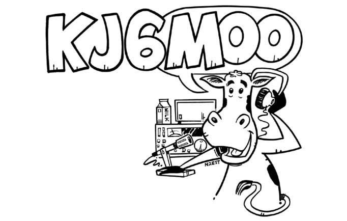 KJ6MOO ham radio cartoon QSL by N2EST