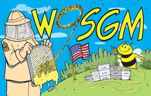 W9SGM ham radio cartoon QSL by N2EST