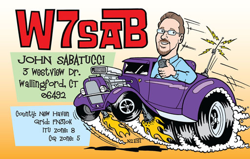 W7SAB cartoon QSL by N2EST