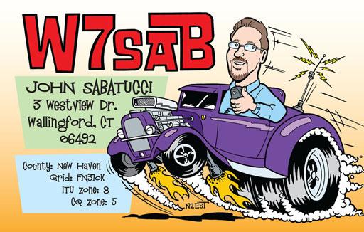 W7SAB cartoon QSL by N2EST