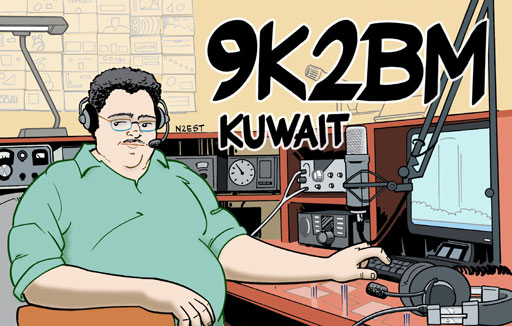 9K2BM ham radio cartoon QSL by N2EST