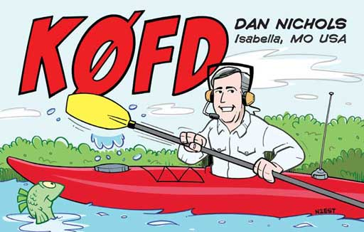 K0FD ham radio cartoon QSL by N2EST
