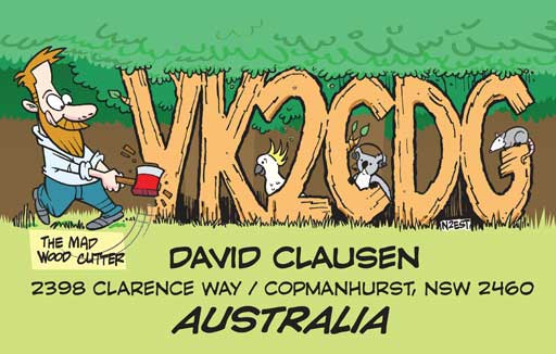 VK2CDG ham radio cartoon QSL by N2EST