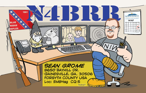 N4BRR cartoon QSL by N2EST