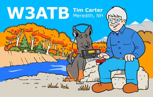 W3ATB ham radio cartoon QSL by N2EST
