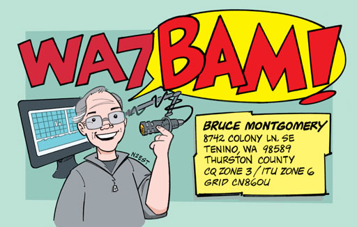 WA7BAM ham radio cartoon QSL by N2EST