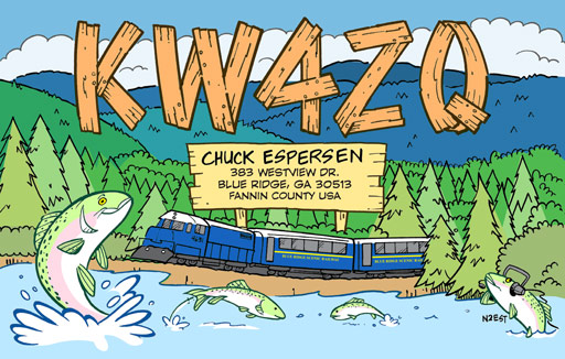 KW4ZQ cartoon QSL by N2EST