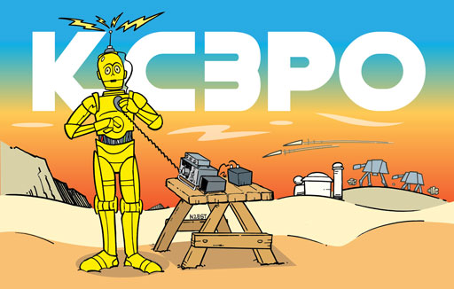 KC3PO ham radio cartoon QSL by N2EST