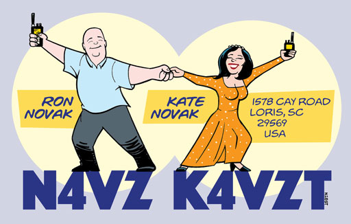 N4VZ K4VZT ham radio cartoon QSL by N2EST