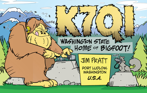 K7QI ham radio cartoon QSL by N2EST