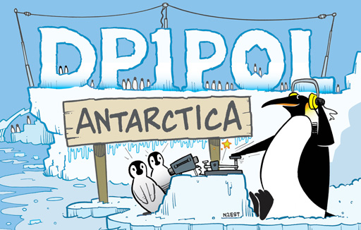 DP1POL ham radio cartoon QSL by N2EST